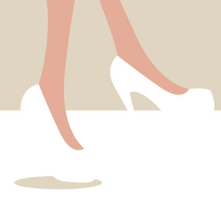 legs heels: Holiday greetings lovely women and girls. Female legs with high heels. Swadey background. Vector illustration Illustration