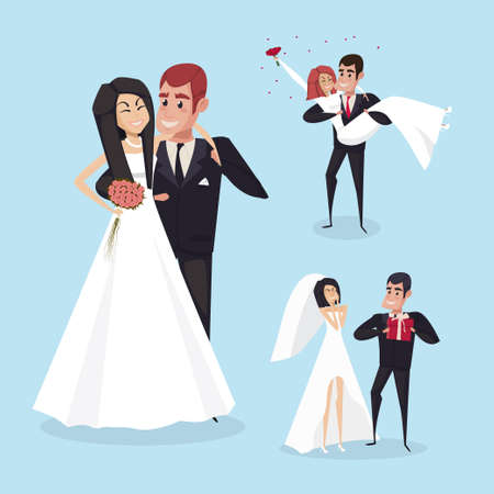 Set of wedding cartoon situations with the bride and groom. The characters design. Vector illustration