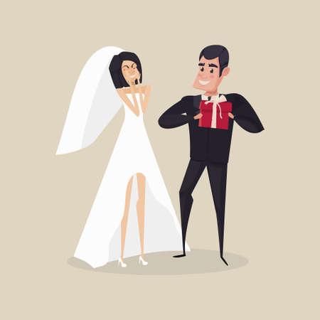 enamorados caricatura: El novio le da un regalo a la novia en el día del compromiso. ilustración vectorial Vectores