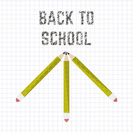 Poster school Educational back to school written on paper in a cage. Vector illustration Illustration
