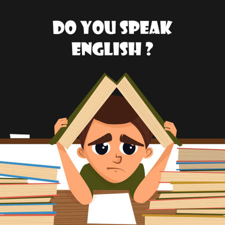 A cartoon illustration of a school student in English class. Vector illustration