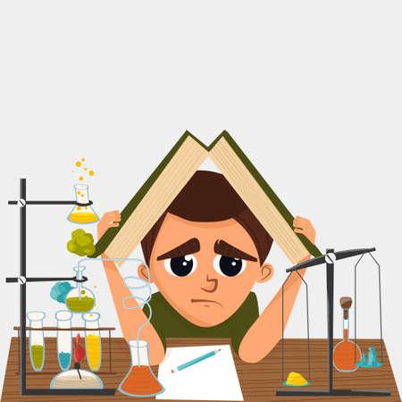 Une illustration de bande dessinée d'un élève de l'école en classe de chimie. Illustration vectorielle Vecteurs