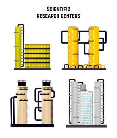 centers: Research buildings laboratories and the medical, biological centers. illustration