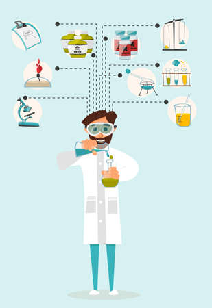 Researcher of the research laboratory with the reagents in his hands. illustration Illustration