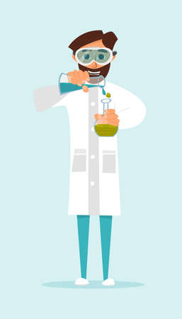 chemistry lab: Research scientist conducting an experiment with liquids. The nature of the design. illustration