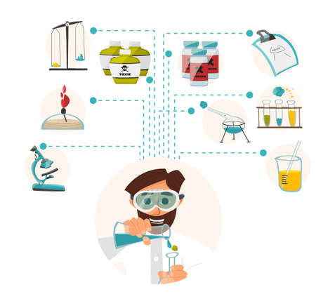 reagents: Researcher of the research laboratory with the reagents in his hands. illustration Illustration