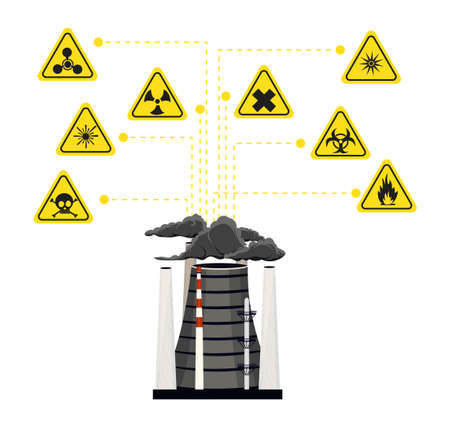 Infographics nuclear energy and its impact on the environment . illustration