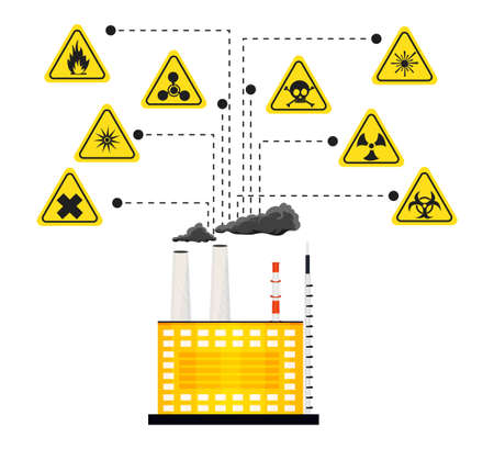 laser hazard sign: Infographics of the impact of harmful factories and chemical plants on the environment. illustration Illustration