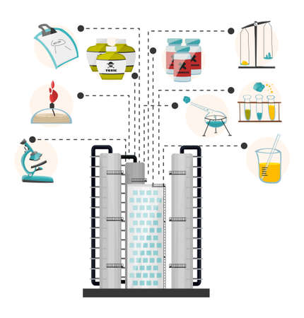 centers: Infographics research building laboratories and the medical, biological centers. illustration