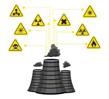polluted cities: Infographics nuclear energy and its impact on the environment. illustration
