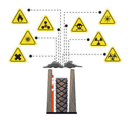 laser hazard sign: Infographics of the impact of harmful factories and chemical plants on the environment. The danger signs. illustration