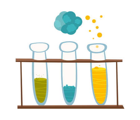 reagents: Chemical instruments and equipment. Beakers with reagents for experiments in the style of the cartoon. illustration