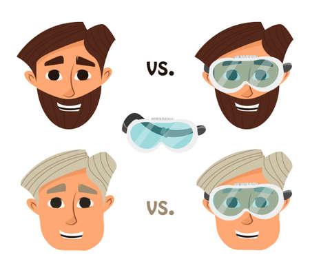 scholar: Researcher, research laboratory safety glasses or goggles. illustration
