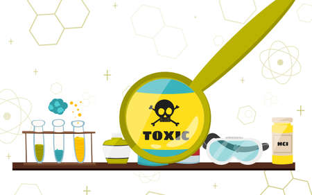 toxicology: Colorful illustration with scientific instruments and equipment for research. illustration