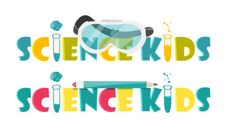 Colorful illustration with scientific instruments and equipment for research. illustration
