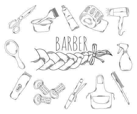 haircare: Large collection of line icons in hand drawn style for the profession of barber. Vector illustration