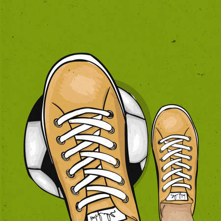 foot ball: Soccer player holding foot ball on the green lawn of a football field. The sports poster. Vector illustration