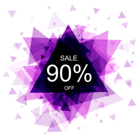 price drop: Isolated colorful discount sticker on white background. Abstract geometric triangular banner sales.