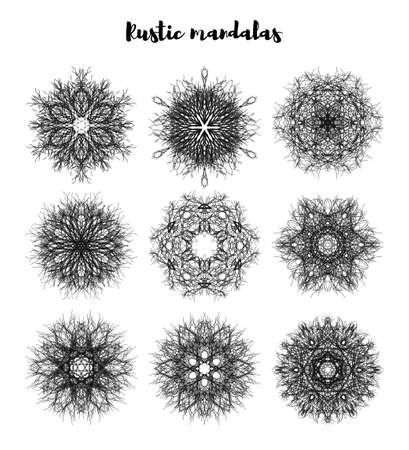 Rustic unusual stress patterns of a mandala in a linear fashion. Vector illustration