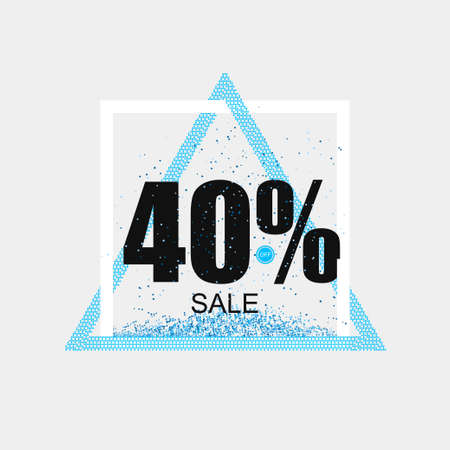Beautiful discount banner coupon in blue with glitter effect. Vector illustration Illustration