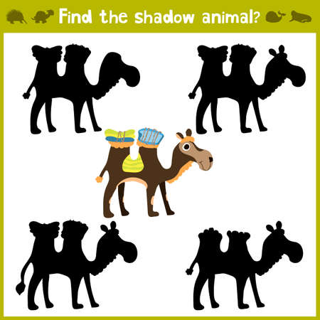 Educational games for children, cartoon for children of preschool age. Find the right shade for African camel. Vector illustration Çizim