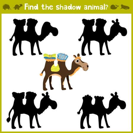 Juegos educativos para niños, dibujos animados para los niños de edad preescolar. Encontrar el tono adecuado para el camello africano. ilustración vectorial Foto de archivo - 68501529