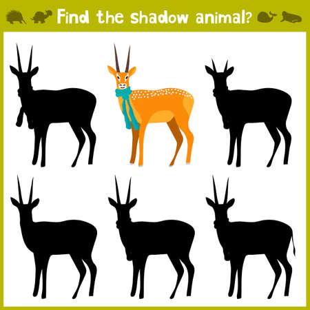 Educational games for children, cartoon for children of preschool age. Find the right shade for wild antelope. Vector illustration Vettoriali