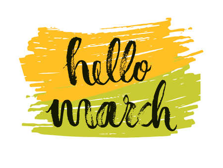 Hello to the month of March. Spring is a time language drawing on yellow-green background.