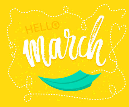 cartoom: Spring greetings to the month of March design in yellow background with paper origami plane was drawing to a seasonal marketing promotion. Vector illustration.