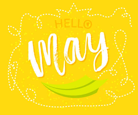 Spring greetings to the month of May design in yellow background with paper origami plane was drawing to a seasonal marketing promotion. Vector illustration.