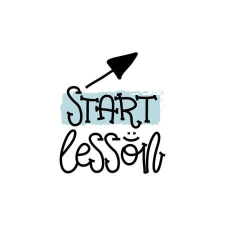 Concept d'éducation et d'évaluation. Les leçons de logo à la main commencent sur du papier blanc Vue d'en-haut. Illustration vectorielle