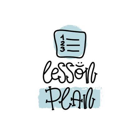 Concept d'éducation et d'évaluation. Main qui écrit le plan de leçons logo sur papier blanc. Vue d'en-haut. Illustration vectorielle