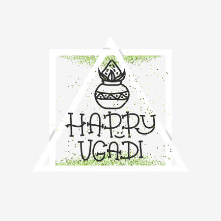 Happy Ugadi. The Hindu new year. Banner Template for holiday. pot with coconut. Vector illustration