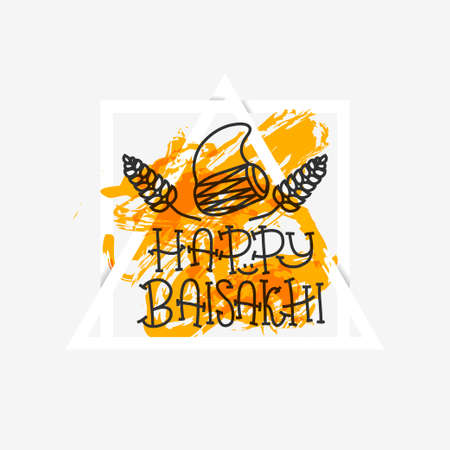 Card with text Happy Baisakhi. New year in Punjab. The celebration of the festival Baisakhi in India. Print for holiday. Vector illustration Illustration