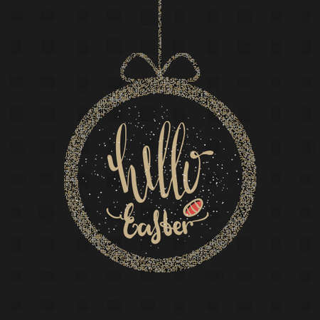 golden egg: Quote Happy Easter Day in a round gold frame with bow design background. Lettering design. Luxury Easter greeting card. Background template. Vector illustration Illustration