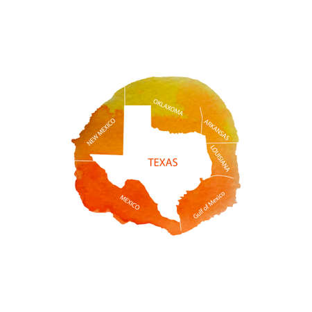 Texas. Watercolor territory U.S. state of Texas with the names of neighboring States. Vector illustration Illustration