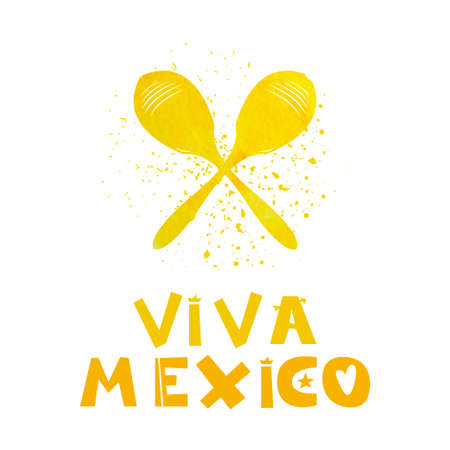 Viva Mexico. Watercolor maracas. Cute cartoon lettering. Flat illustration isolate on white background. Print for the Mexican holiday and celebration of festivals. Vector illustration