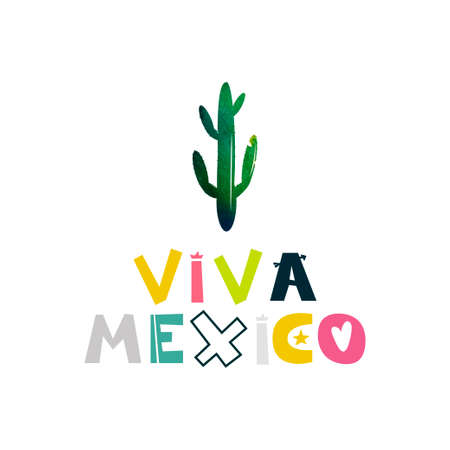 mexican ethnicity: Viva Mexico. Watercolor cactus. Cute cartoon lettering. Flat illustration isolate on white background. Print for the Mexican holiday and celebration of festivals. Vector illustration Illustration