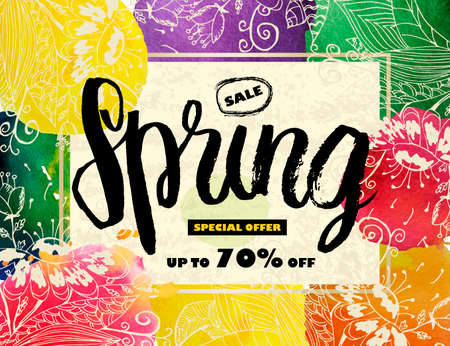 Spring Sale Banner, Sale Poster, Sale Flyer, 70 Off, Spring holiday colorful watercolor background for printing on fabric, paper for scrapbooking, gift wrap and wallpapers. Vector illustration