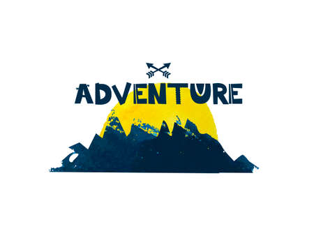 Adventure. Cute lettering text. Watercolor silhouette of the mountains. Vector illustration Illustration