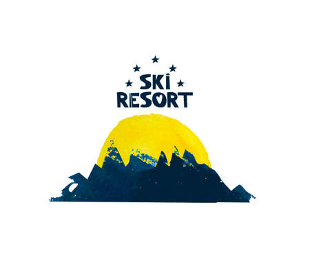 The sun rises over the mountain. Advertising ski resort. Cute lettering text. Watercolor silhouette of the mountains. Vector illustration