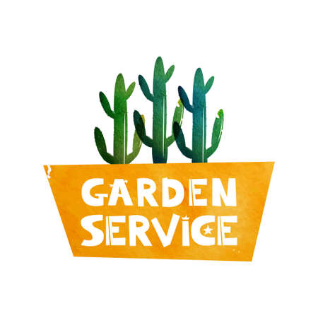 Garden service. Logo for advertising services for the care of plants. Cactus in a pot. Watercolor background. Vector illustration