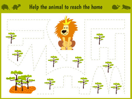 Cartoon illustration of education. Matching game for preschoolers to hold a wild animal of the lion home to savanna.