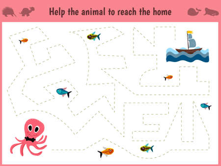 Cartoon illustration of education. Matching game for preschool kids trace the path of a big octopus in the sea to eat all the fish.