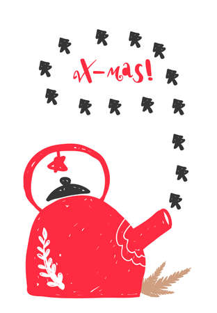 Christmas holiday card in Scandinavian style, vector illustration.