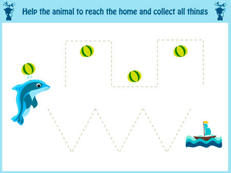 Maze game. Educational children cartoon game for children of preschool age. Help to find the way home in the sea Dolphin and feed him fish. Vector illustration