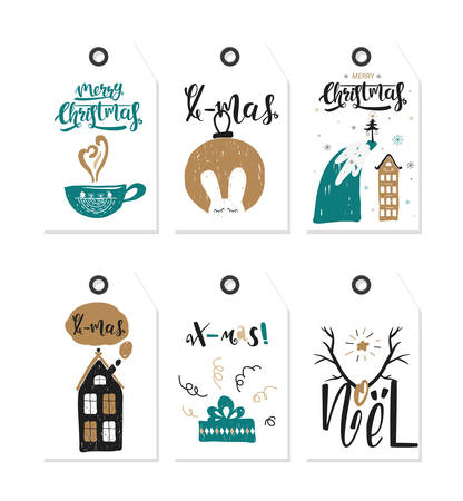 Big collection Gift christmas and happy new year tags. Vector