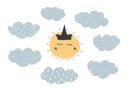 Hand drawn grunge vector illustration in scandinavian style with ornamental clouds and sun with crown