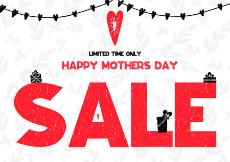 Limited time only Happy Mothers Day sale card. Vector illustration on white pattern backgroung with gifts and heart. Can be used as selling card, poster, banner, brochure, flyer, coupon, bulletin