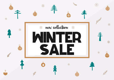 Big winter sale coupon with black calligraphy font. Vector illustration Vettoriali